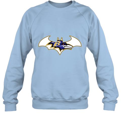 bul4 we are the baltimore ravens batman nfl mashup sweatshirt 35 front light blue