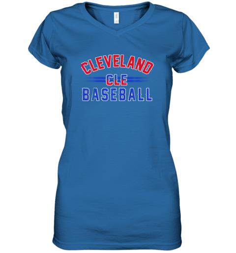 cqj8 cleveland cle baseball women v neck t shirt 39 front royal