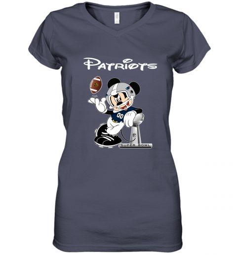 ro5e mickey patriots taking the super bowl trophy football women v neck t shirt 39 front heather navy