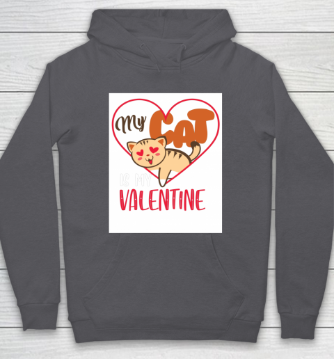 Cute My Cat Is My Valentine Cat Lover Valentines Day Gift Hoodie 4