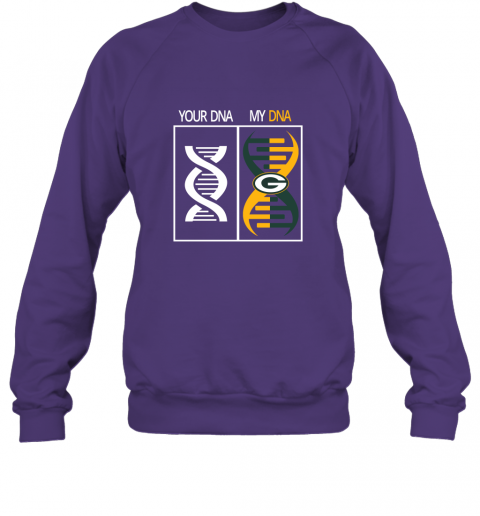 7l98 my dna is the green bay packers football nfl sweatshirt 35 front purple