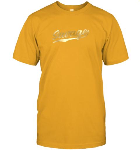 rj8n savage shirt retro 1970s baseball script font jersey t shirt 60 front gold