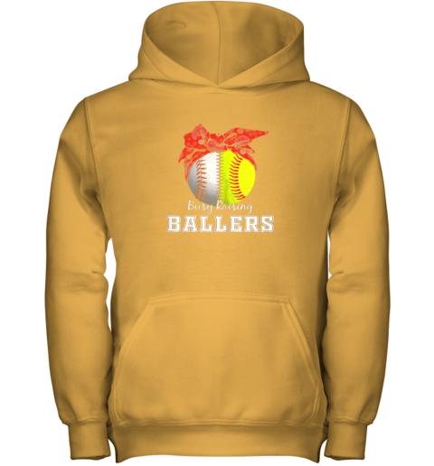 s41x busy raising ballers softball baseball shirt baseball mom youth hoodie 43 front gold