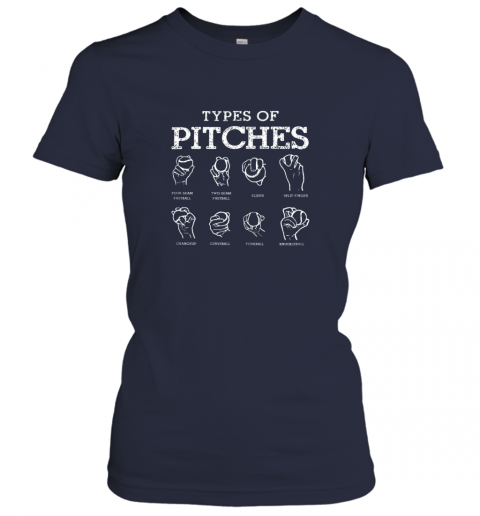 25ea types of pitches softball baseball team sport ladies t shirt 20 front navy