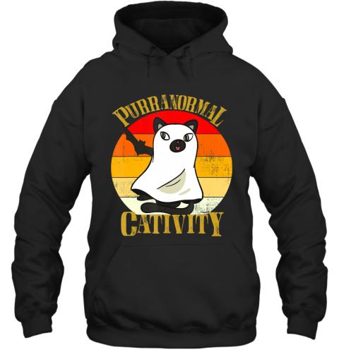 Purranormal Cativity Vintage Cat Ghost Halloween Costume Hoodie