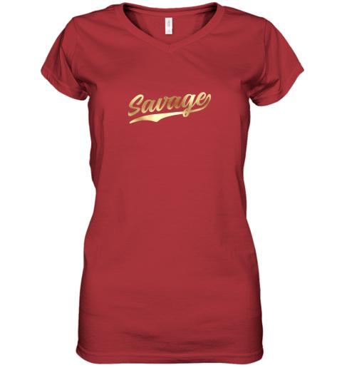 q2tw savage shirt retro 1970s baseball script font women v neck t shirt 39 front red