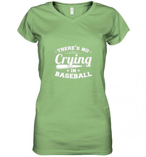 ozmn there39 s no crying in baseball gift women v neck t shirt 39 front lime