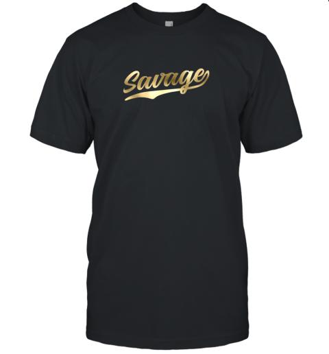 Savage Shirt Retro 1970s Baseball Script Font Unisex Jersey Tee