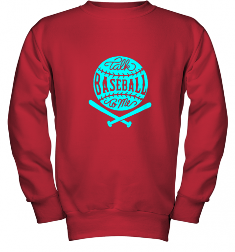 uoc9 talk baseball to me groovy ball bat silhouette youth sweatshirt 47 front red