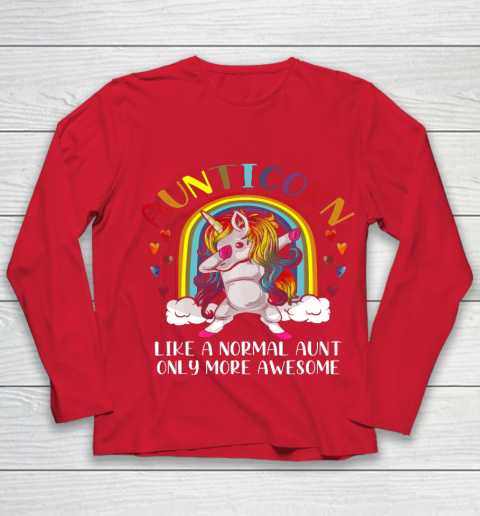 Aunticorn Like An Aunt Only Awesome Dabbing Unicorn Youth Long Sleeve 8