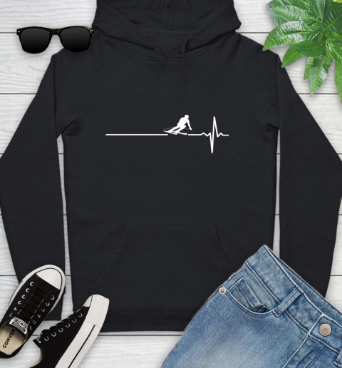 Skiing This Is How My Heart Beats Youth Hoodie