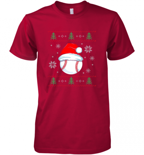 bd9m ugly christmas baseball shirt boys kids ball santa pajama premium guys tee 5 front red