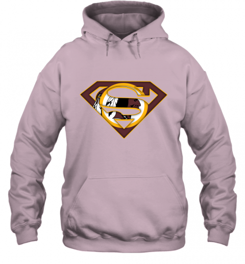 67kt we are undefeatable the washington redskins x superman nfl hoodie 23 front light pink