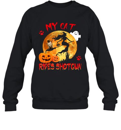 My Cat Rides Shotgun Funny Witch Cat Halloween Gifts Sweatshirt