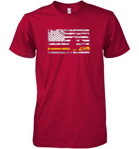 puuw softball catcher shirts baseball catcher american flag premium guys tee 5 front red