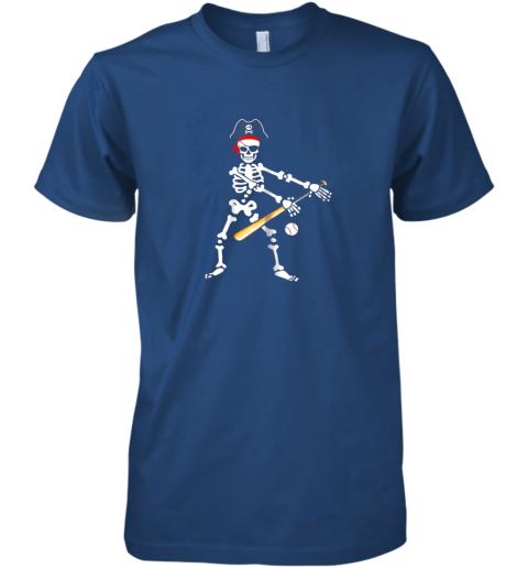 iq5u skeleton pirate floss dance with baseball shirt halloween premium guys tee 5 front royal