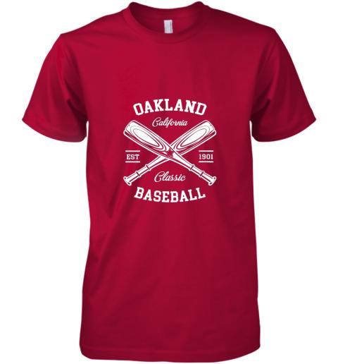 w20e oakland baseball classic vintage california retro fans gift premium guys tee 5 front red