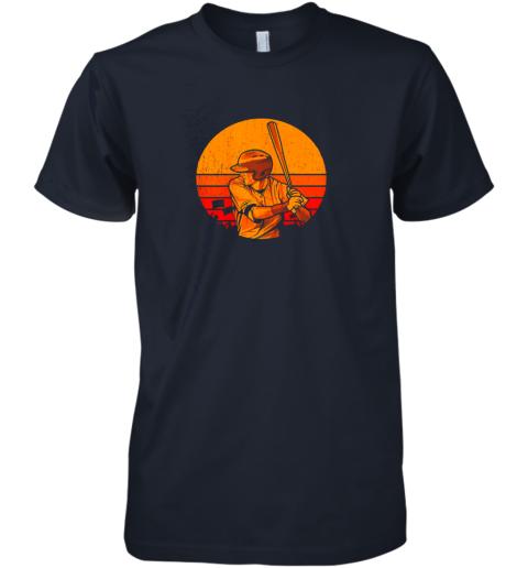 jxdj vintage baseball shirt retro catcher pitcher batter boys premium guys tee 5 front midnight navy