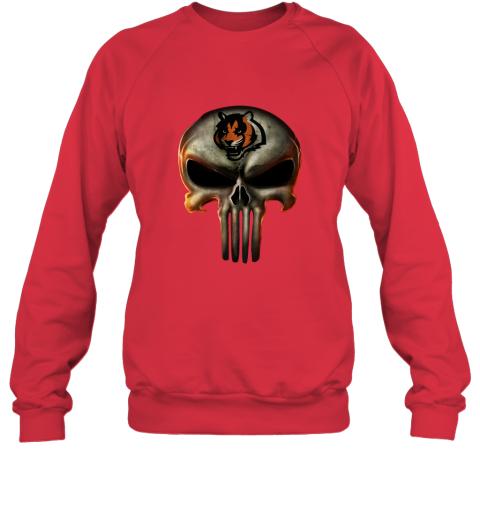 m3ce cincinnati bengals the punisher mashup football sweatshirt 35 front red