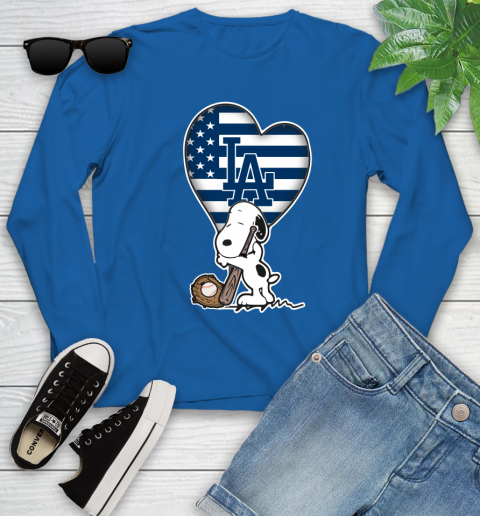 Los Angeles Dodgers MLB Baseball The Peanuts Movie Adorable Snoopy Youth Long Sleeve 9