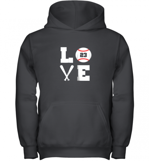 I Love Baseball Player Number #23 Gift Shirt Youth Hoodie