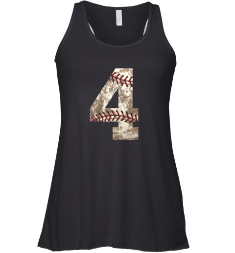 Baseball Jersey Number 4 t shirt Distressed Ball Racerback Tank