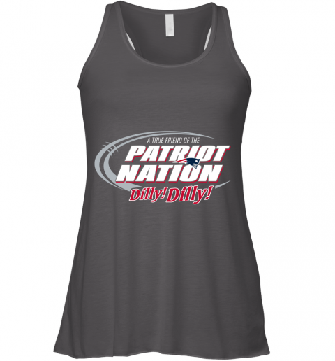 nnqr a true friend of the new england patriots dilly dilly flowy tank 32 front dark grey heather