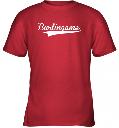 yzq8 burlingame baseball softball styled youth t shirt 26 front red