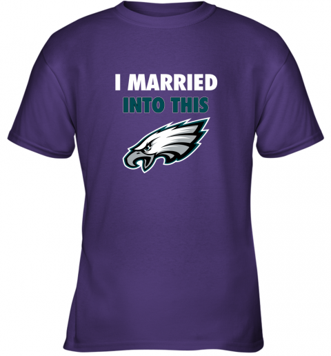 2m7j i married into this philadelphia eagles football nfl youth t shirt 26 front purple