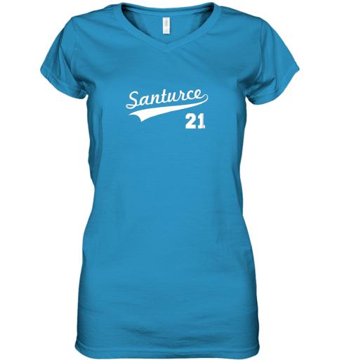 mxgk vintage santurce 21 puerto rico baseball women v neck t shirt 39 front sapphire