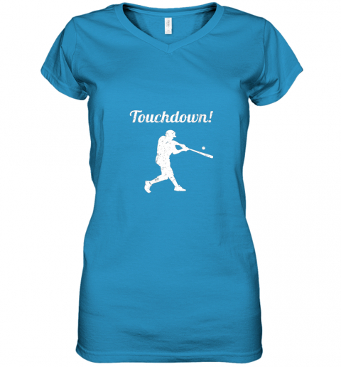 plpp touchdown funny baseball women v neck t shirt 39 front sapphire