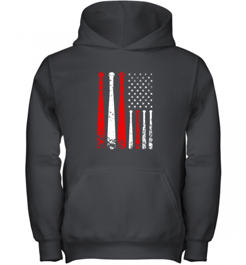 Baseball Inspired American Flag Distressed Youth Hoodie