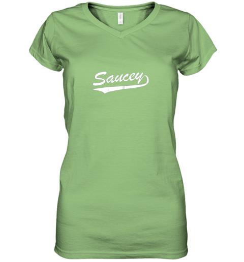 sgok saucey swag baseball women v neck t shirt 39 front lime