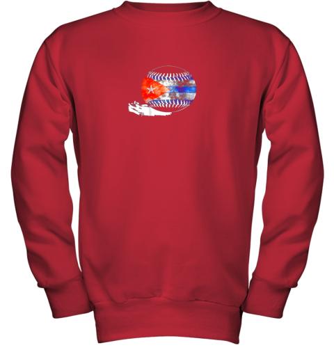vvoz vintage baseball cuba flag shirt cuban pride youth sweatshirt 47 front red