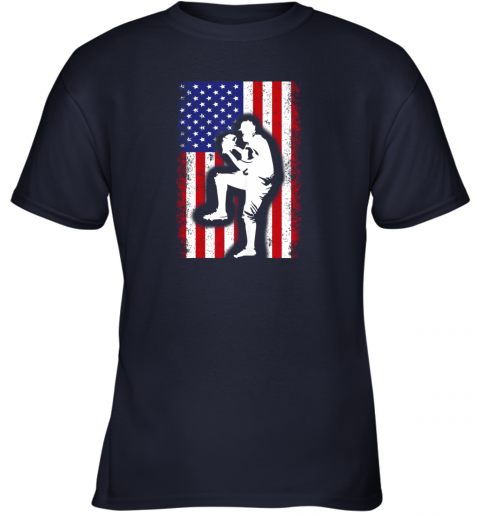 26y5 vintage usa american flag baseball player team gift youth t shirt 26 front navy