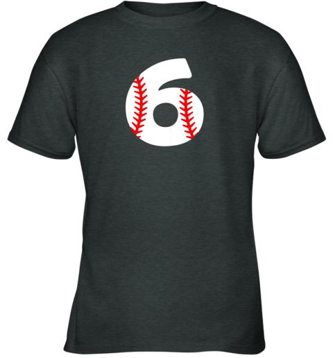 idry sixth birthday 6th baseball shirtnumber 6 born in 2013 youth t shirt 26 front dark heather