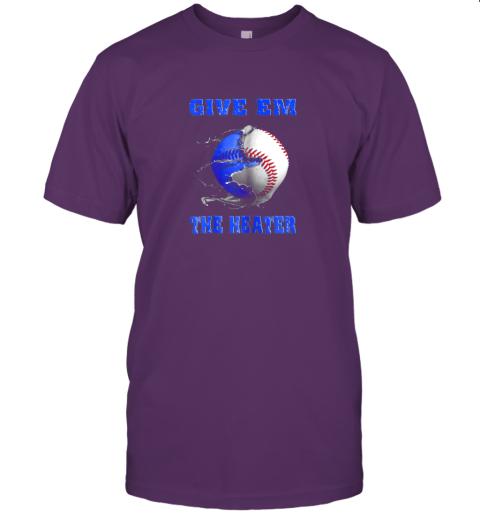 hgqt give em the heater baseball pitcher jersey t shirt 60 front team purple