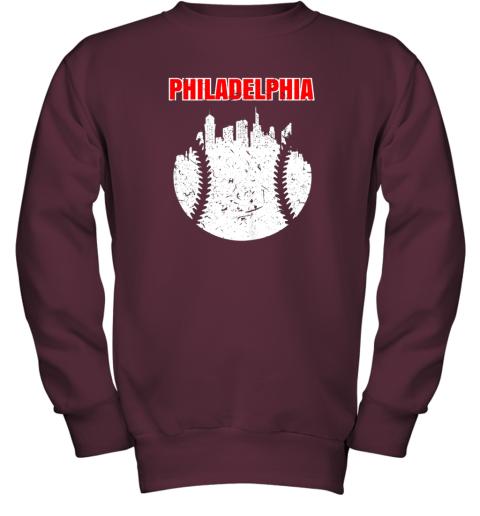 l46p vintage philadelphia cityscape baseball retro youth sweatshirt 47 front maroon