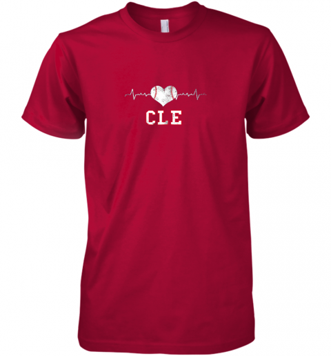 icno cleveland baseball shirt cleveland ohio heart beat cle premium guys tee 5 front red