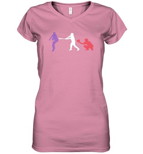 ruhf baseball usa flag american tradition spirit women v neck t shirt 39 front azalea