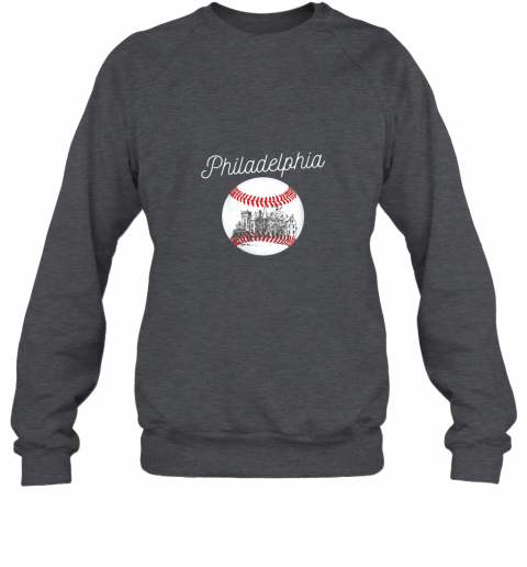 qy32 philadelphia baseball philly tshirt ball and skyline design sweatshirt 35 front dark heather