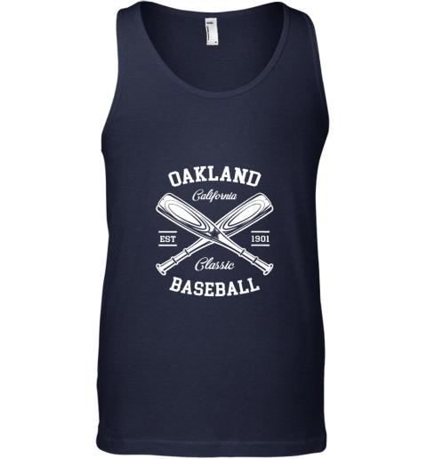 iszv oakland baseball classic vintage california retro fans gift unisex tank 17 front navy