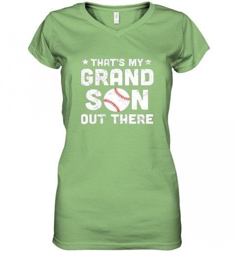 wrkx grandma that39 s my grandson out there baseball women v neck t shirt 39 front lime