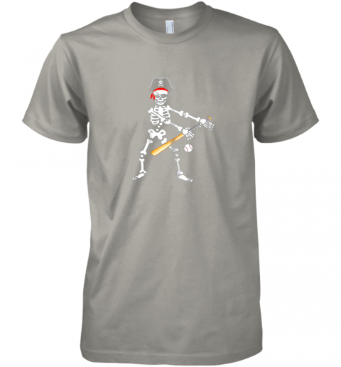 iq5u skeleton pirate floss dance with baseball shirt halloween premium guys tee 5 front light grey