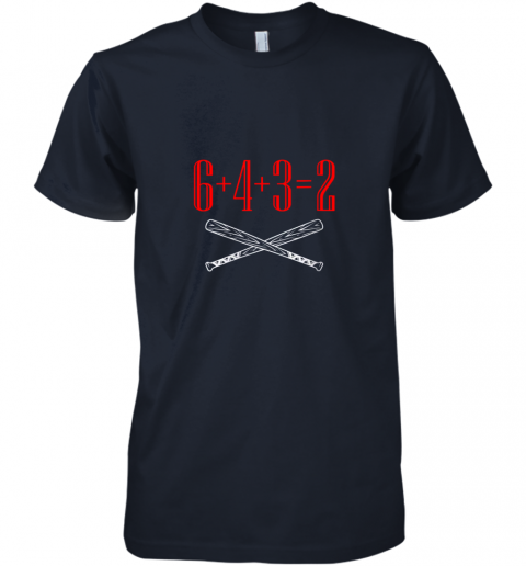 ks75 funny baseball math 6 plus 4 plus 3 equals 2 double play premium guys tee 5 front midnight navy