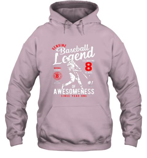 xu1r kids 8th birthday gift baseball legend 8 years hoodie 23 front light pink