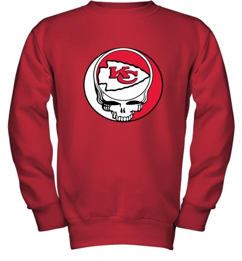 lmdw nfl team kansai city chiefs x grateful dead youth sweatshirt 47 front red