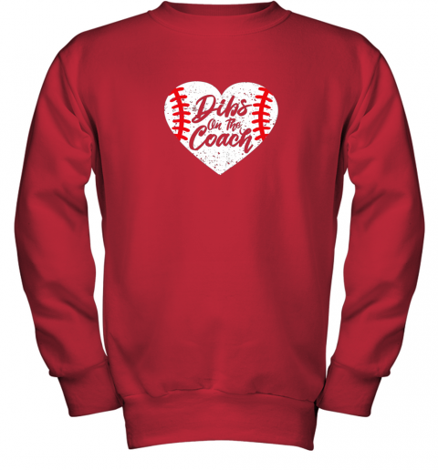 vdw2 dibs on the coach funny baseball youth sweatshirt 47 front red