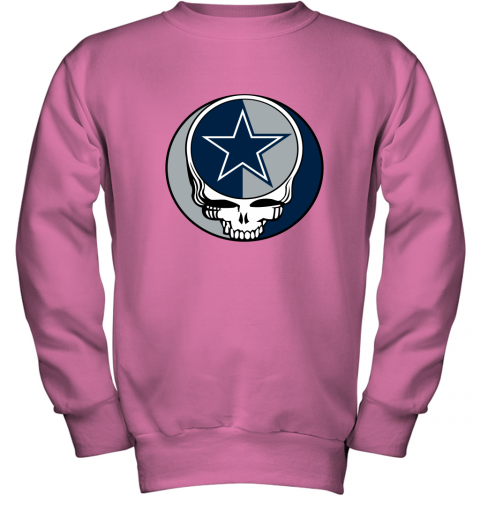 ulnq nfl team dallas cowboys x grateful dead youth sweatshirt 47 front safety pink
