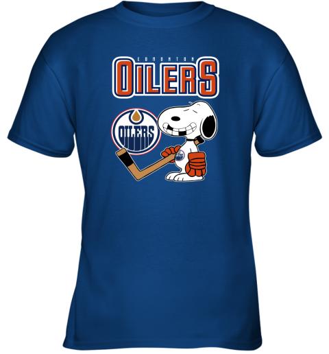 qyzy edmonton oilers ice hockey broken teeth snoopy nhl shirt youth t shirt 26 front royal